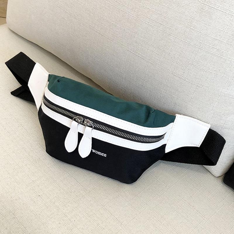 d86f1745c034 Waist Bag Women 2019 New Canvas Leisure Panelled Fanny Pack For Girls  Letter Bum Bag Packs fashion ...