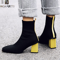Prova Perfetto 2018 New Style Women Stretch Boots Women Fashion Red Yellow Woman Ankle Boots Warm Square Toe High Heels Boots