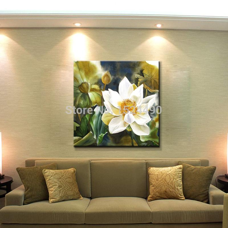 Hand Painted Modern Home Decoration Lotus Oil Paintings On Canvas Sets Wall Art Pictures landscape Unframed
