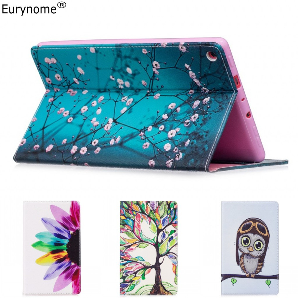 Fashion Cartoon flower tree Owl Wallet card PU Leather Stand Case Cover For New Amazon Kindle Fire HD 8 HD8 2017 8 inch + pen