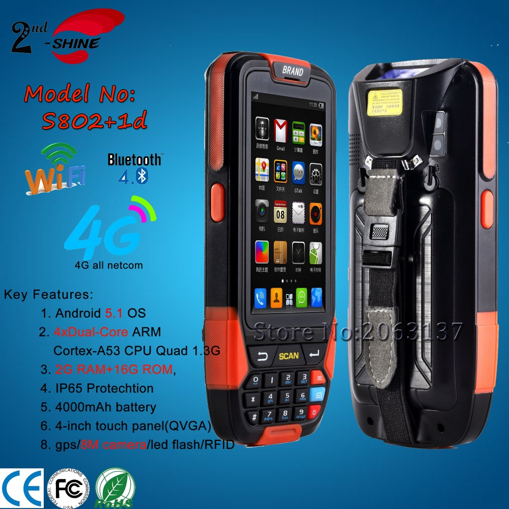 Cheapest Factory price 4.0inch 4G Android 5.1 1D Barcode Scanner Industrial PDA With Wifi/GPS/BT4.0