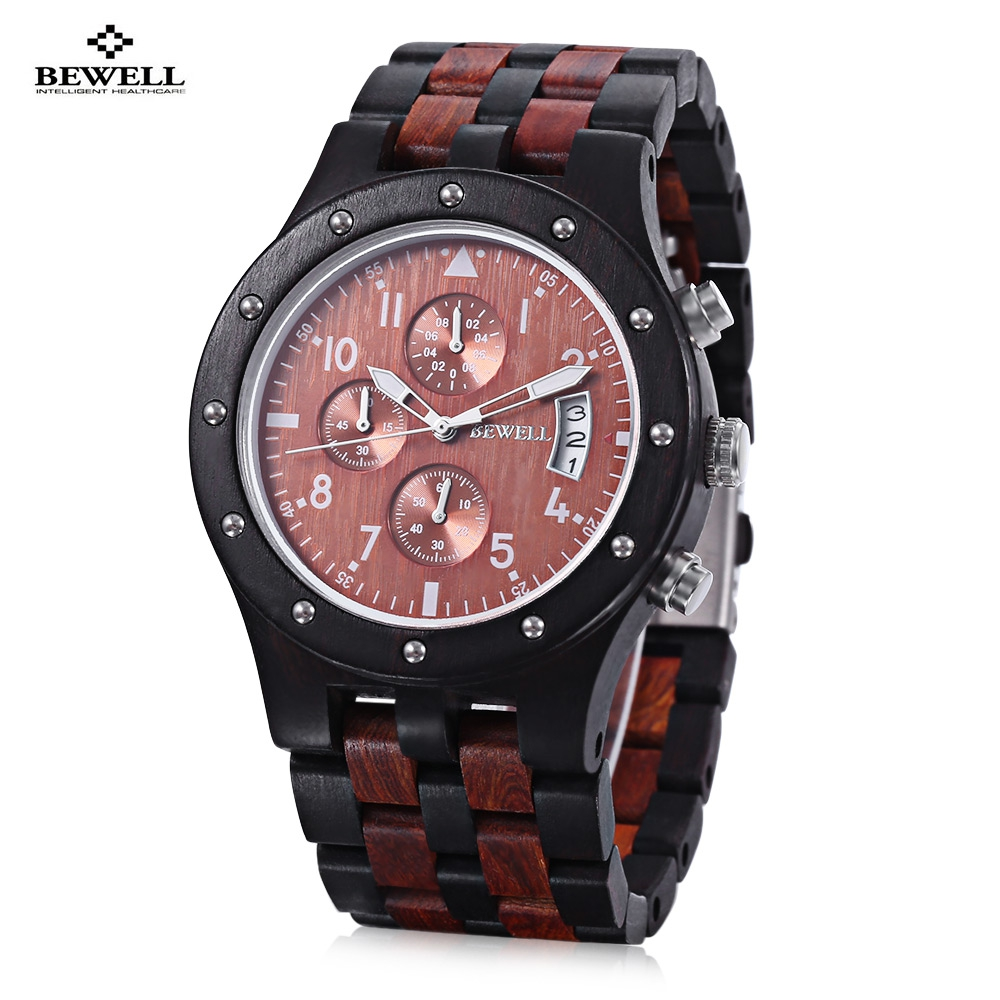 Bewell men wooden quartz watch japan movt working sub dial date display wristwatch for Celebrity quartz watch japan movt