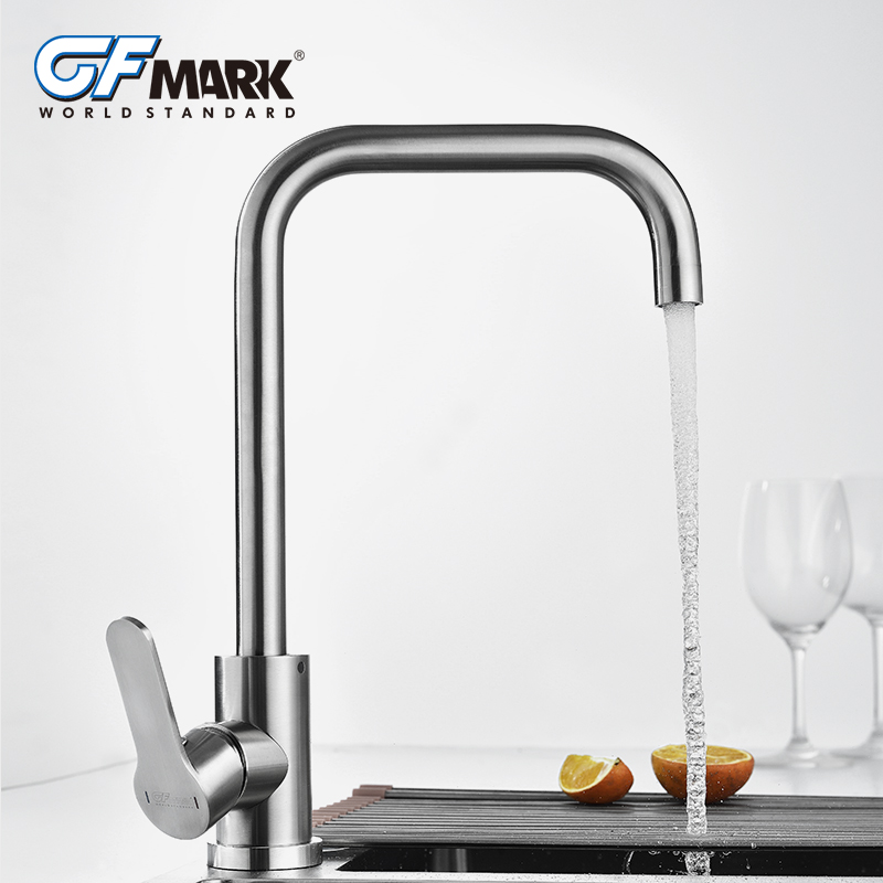Sus304 Stainless Steel Kitchen Faucets Brushed Mixer Water: GFmark Kitchen Faucet Brushed Water Tap SUS304 Stainless