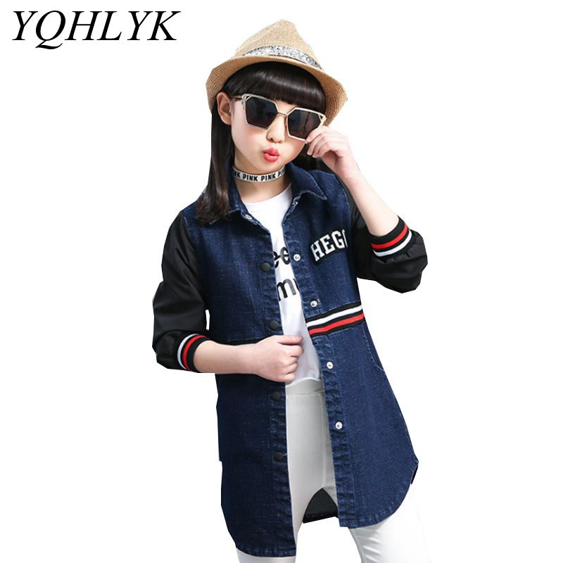 New Fashion Spring Autumn Girls Coat 2018 Korean Children Long-Sleeve Long Sections Denim Jacket Casual Joker Kids Clothes W155 цена 2017