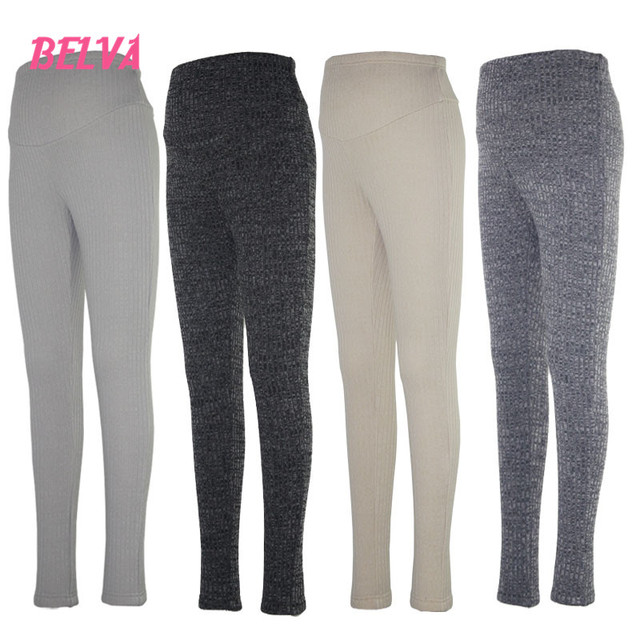 Belva apoio barriga alta elástica de algodão de lã quente calças de inverno 100% algodão de moda maternidade leggings roupas gravidez 541