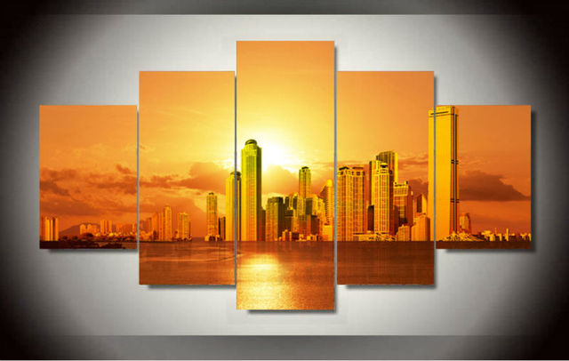 Aliexpress.com : Buy Beautiful City With Sunset Wall Art Picture ...
