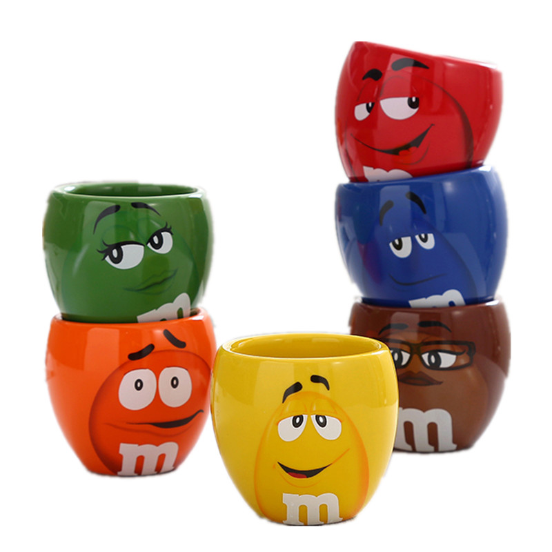 100ML m&m beans coffee mugs tea cups and mugs cartoon expression mark creative drinkware limit product taza de m&m