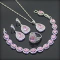 Drop Pink Created Topaz 925 Sterling Silver Jewelry Sets Earrings/Pendant/Necklace/Rings/Bracelet  For Women Free Gift Box