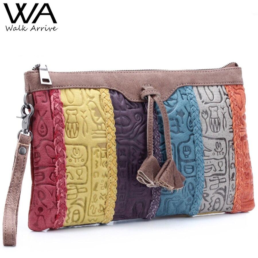 Walk Arrive Genuine Leather Women Clutch Handbag Brand Design Oracle Embossed Leather Shoulder Bag Fashion Purse