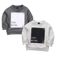 2016 Fashion Hip-hop Baby Boys Pullover Tops Long Sleeve Sweatshirt Toddler Clothes Grey