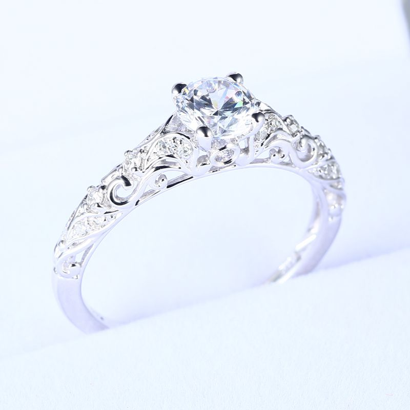 Sterling Silver 925 Plated White Gold Engagement Wedding Women Ring 5.5mm Round CZ Jewelry 3 4mm round cut brilliant cz 925 sterling silver rose gold plated women fashion engagement wedding cubic zirconia ring
