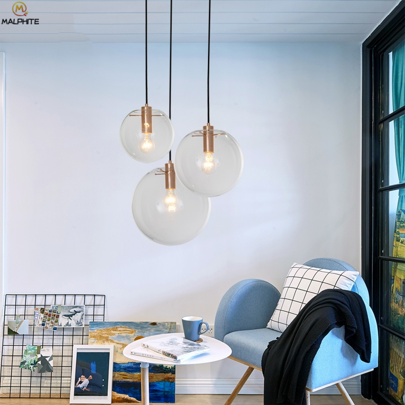 Modern led Suspension Luminaire Glass pendant lights lustre Globe Transparent Ball hanglamp Living Room deco lighting fixturesModern led Suspension Luminaire Glass pendant lights lustre Globe Transparent Ball hanglamp Living Room deco lighting fixtures