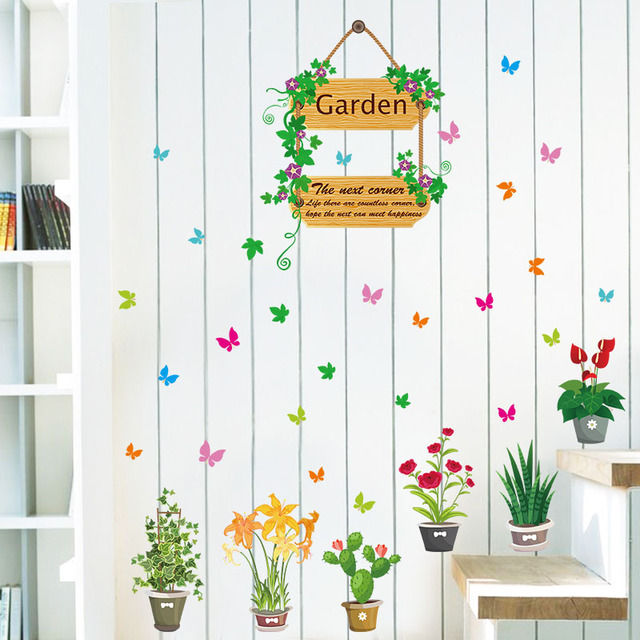 Fundecor Planta Jardin De Flores Mariposa Pegatinas De Pared Para