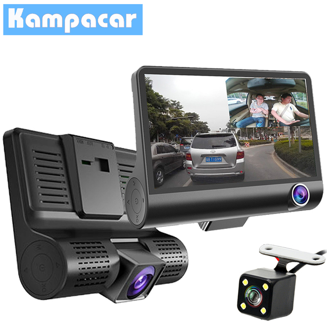 Kampacar 3 Camera Car Dvr For Cars Dash Cam 4 Inch Screen Dvrs With Two Cameras Rear Three Lens Registrator Auto Video Recorder