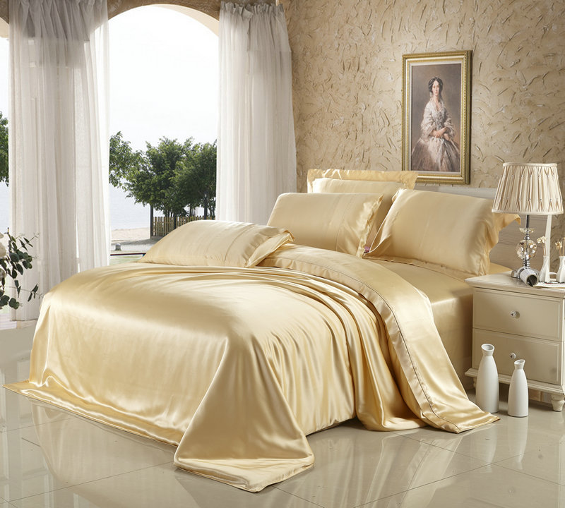 100% mulberry silk bedding 4 pieces set Beige White wine red brown Color 19 mm seamless sheets duvet cover King Queen customize