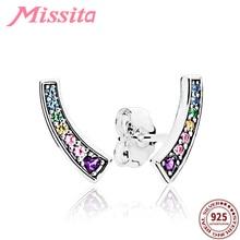 MISSITA 100% 925 Sterling Silver Zircon Heart Rainbow Earrings For Women Jewelry Brand Girlfriend Party Gift Hot Sale