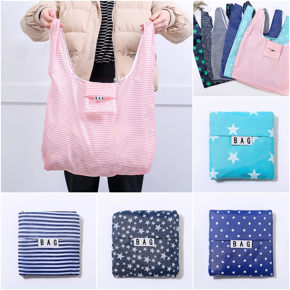 Solid Recycle Shopping Bag Custom Eco Reusable Travel Tote Bag Oxford Shoulder Folding Pouch Handbags Printing Book Bag