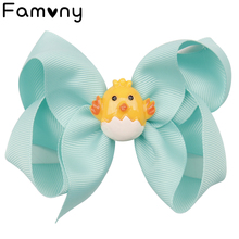 4.5  Candy Color Hair Bow Sweety Cartoon Grosgrain Ribbon Clips Handmade Hairgrip For Girls Easter Day Accessories