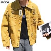 Mùa thu Mới 2017 Hàn Quốc Lỏng Rửa Vintage Ripped Lỗ Hip Hop Máy Bay Ném Bom Jacket Men Army Xanh Lá Cây Vàng Đen Nam Giản Dị Outwear