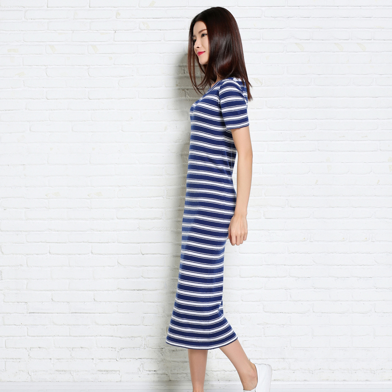 adohon 2018 womens winter Cashmere Dresses and auntmun women knitted Mid-Calf High Quality Warm Female thickening Striped Solid