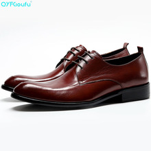 Pointed Toe Formal Mens Genuine Cow Leather Dress Shoes High Quality Oxford Black Wine Red Lace-up Office