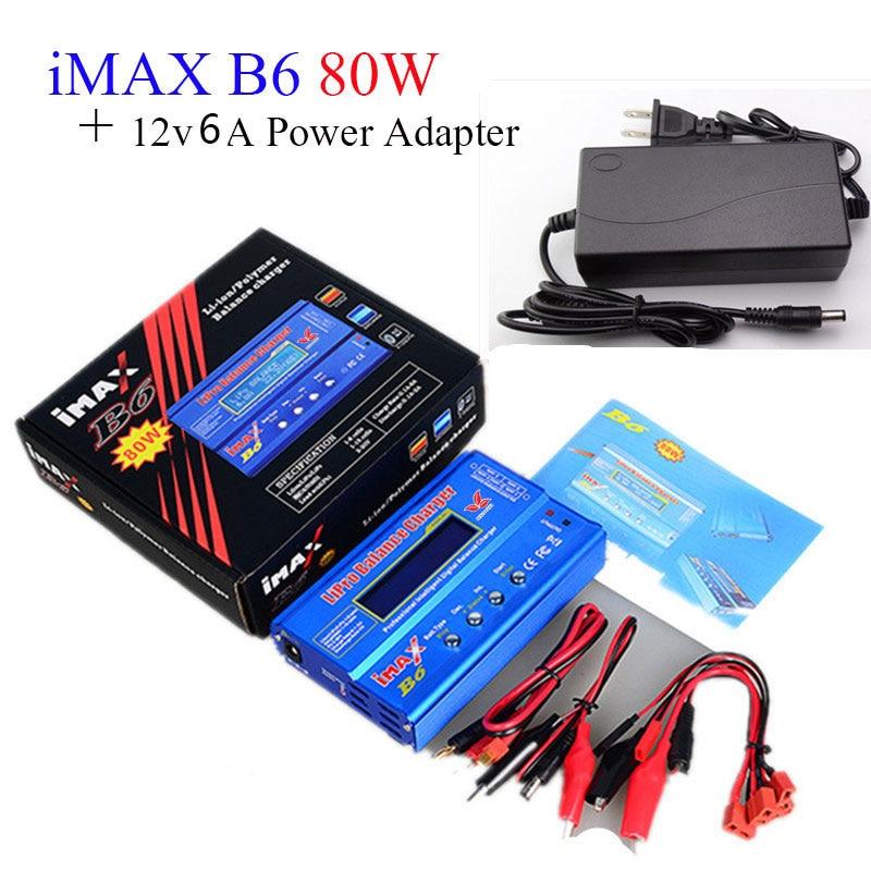 Builld-Power batería lipro cargador del balance de IMAX B6 del cargador lipro balanza digital 12 V 6A adaptador de corriente + cables de carga