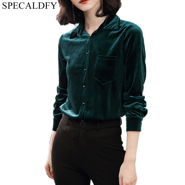 94e620f6ddbb55 2019 Spring Casual Plus Size Shirts Winter Velvet Blouse Womens Tops And Blouses  Ladies Red Green Vintage Blouse Blusa Feminina