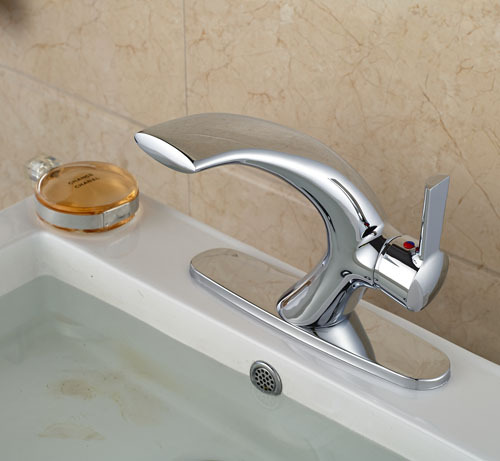 Chrome Brass Bathroom Waterfall Spout Bathroom Sink Faucet  Single Handle  Mixer Tap With Cover plate Contemporary Style soild brass bathroom sink faucet single handle waterfall spout bathtub mixer tap chrome