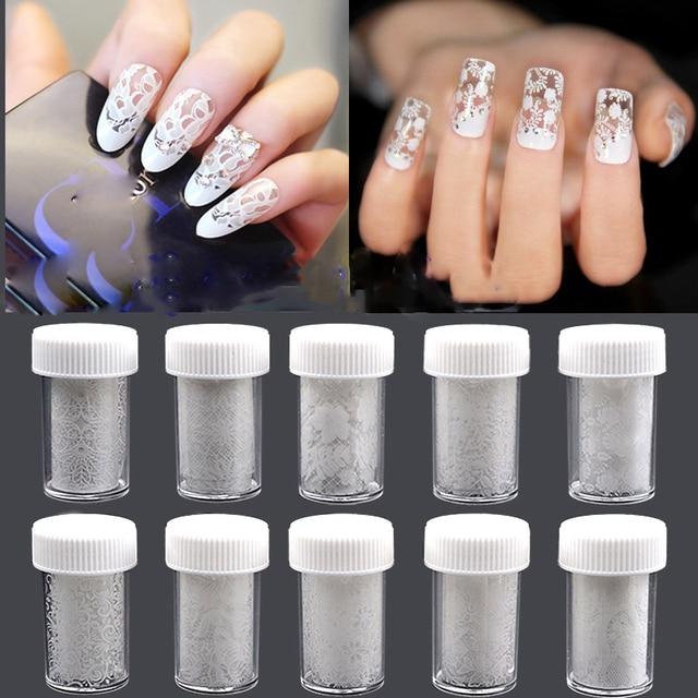 2016 White Lace Star Sticker Nail Art Print Shining Smooth Nail