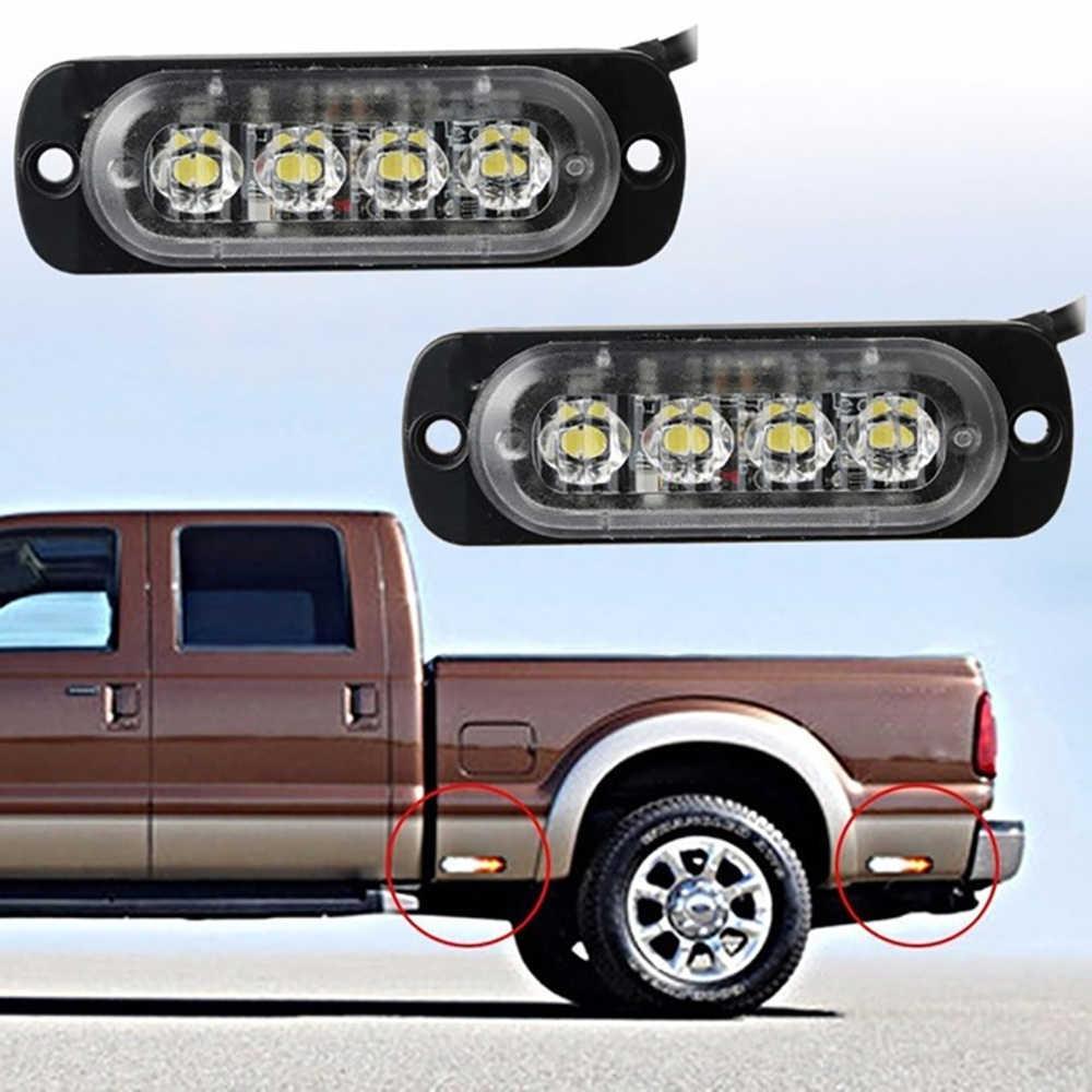 4 قطعة 12/24 V LED سيارة شاحنة الطوارئ تحذير 4LED ستروب فلاش ضوء المخاطر وامض مصباح القيادة النهار شريط الشرطة رجال الاطفاء