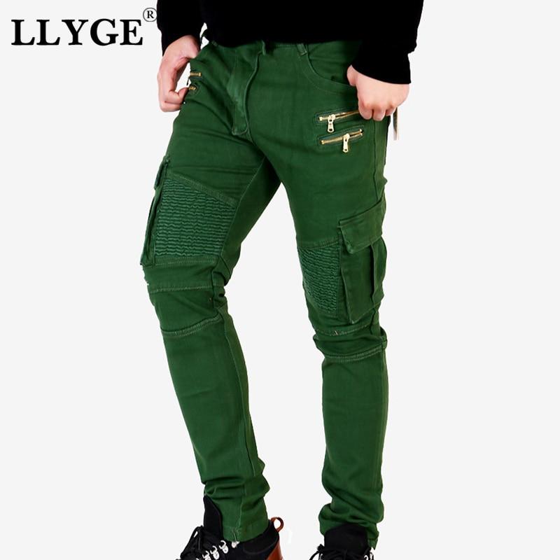 LLYGE Mens Green Biker Cargo Denim Jeans Brand Men Stretch Skinny Moto Biker Pencil Jeans Runway Distressed New Collection Jean denim