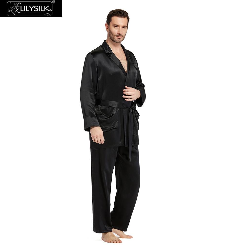 LILYSILK Silk Pajamas Set for Men Summer 22 momme Robe Style Sleepwear