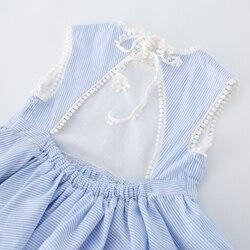 2019 hot selling girls dress ,Fashion blue stripe ,girls cotton dress ,back less dress  (8)_