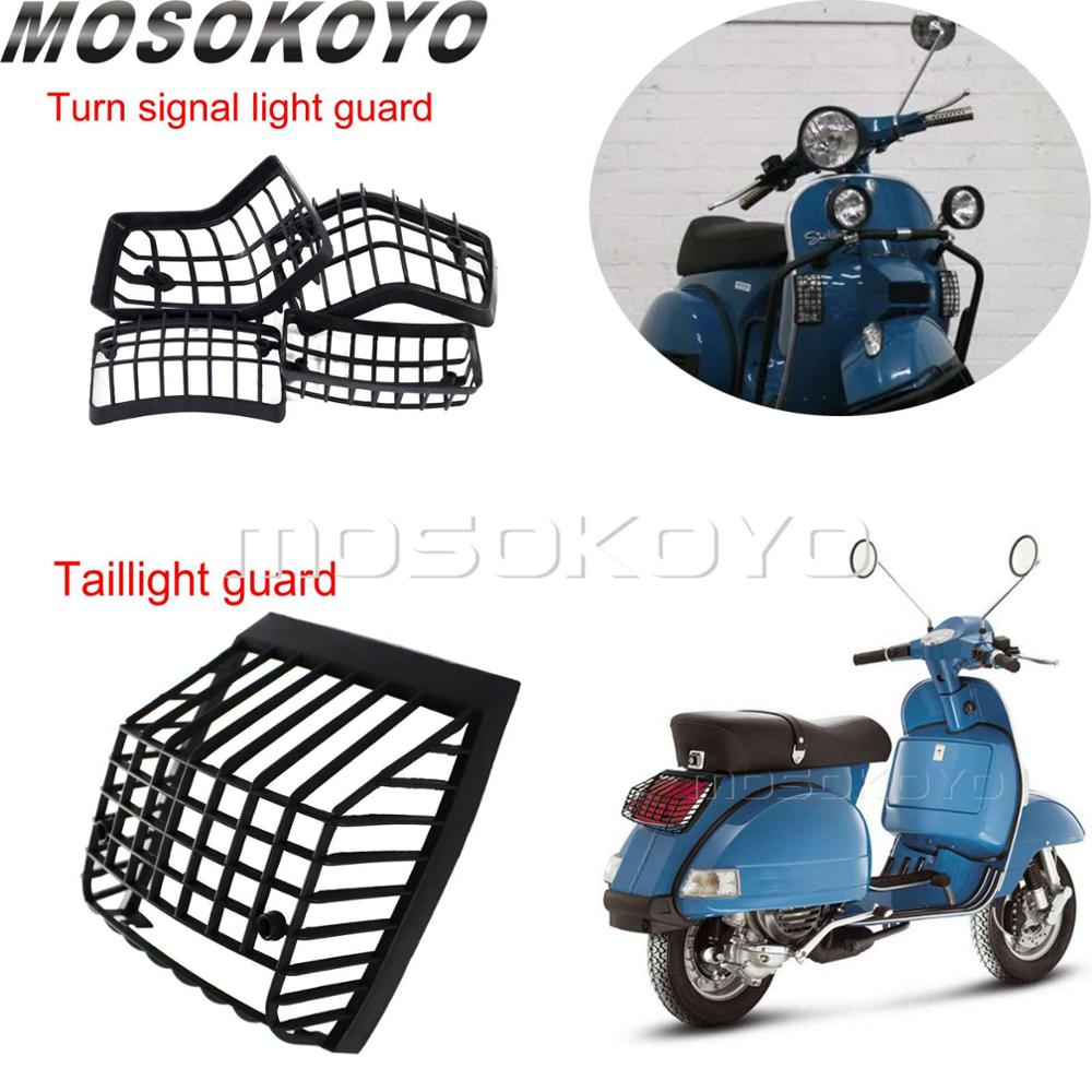 Motorcycle Front & Rear Turn Signal Light Grills Guard + Stone Guard Tail Light Grille For Vespa PX LML Star T5 Classic