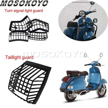 Parrillas delanteras y luz de intermitente trasero para motocicleta, protector contra piedras, rejilla de luz trasera para Vespa PX LML Star T5 Classic