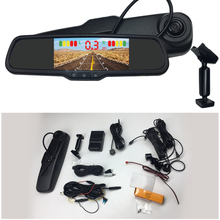 4.3 Hd Lcd Achteruitkijkspiegel Dvr Parking Zichtbaar Anti-Collision Parking System W Speciale Beugel Voor Toyota Mini camera + 4 Radar