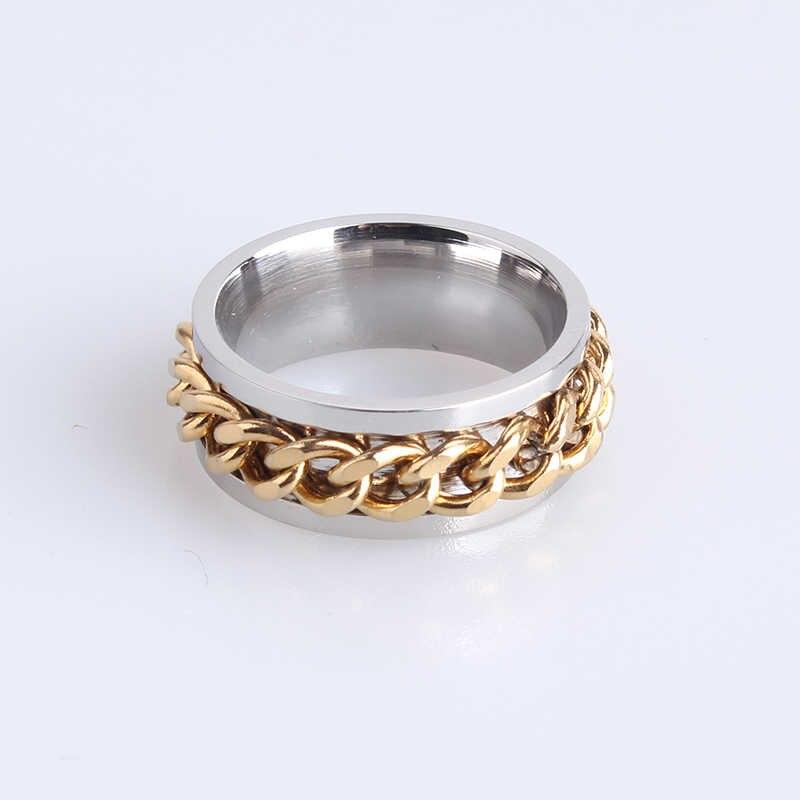 8mm płyta złoty kolor łańcuch srebrny stal nierdzewna 316l pierścienie palców dla kobiet mężczyzn hurtowych