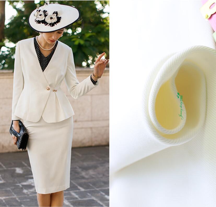Pesando 39mm, branco puro roupas de marca matérias-primas, tecidos de seda calça Casual, jaqueta, terno Fino tecido de seda artesanal
