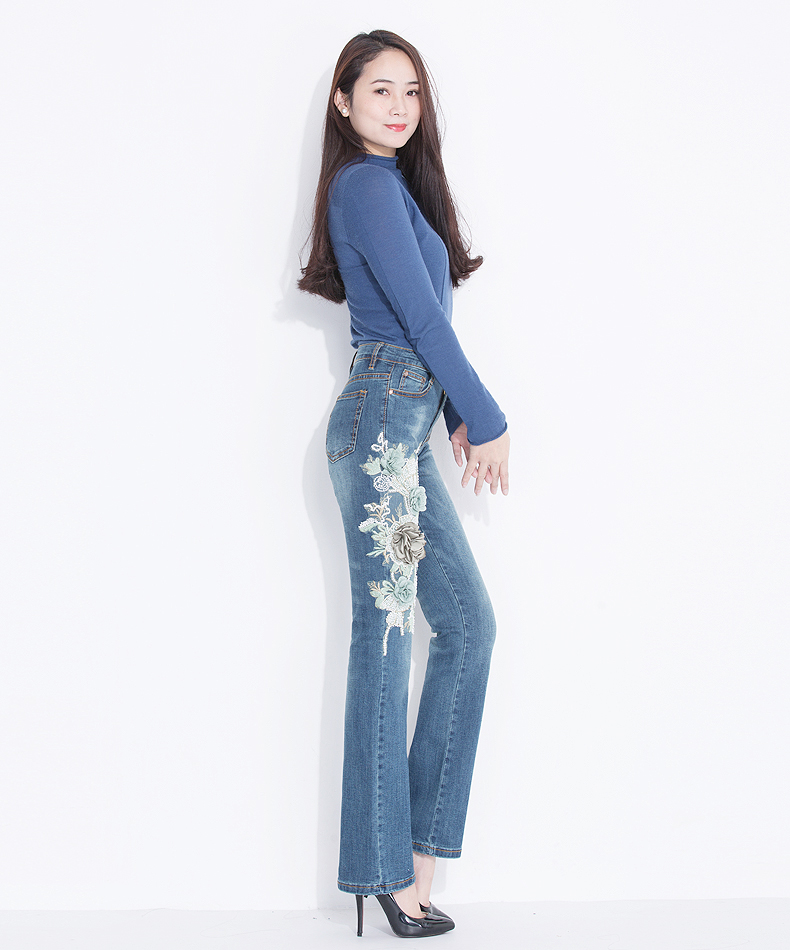FERZIGE Womens Jeans Spring High Waist Embroidery Retro Applique Bell Bottoms Slim Stretch Female