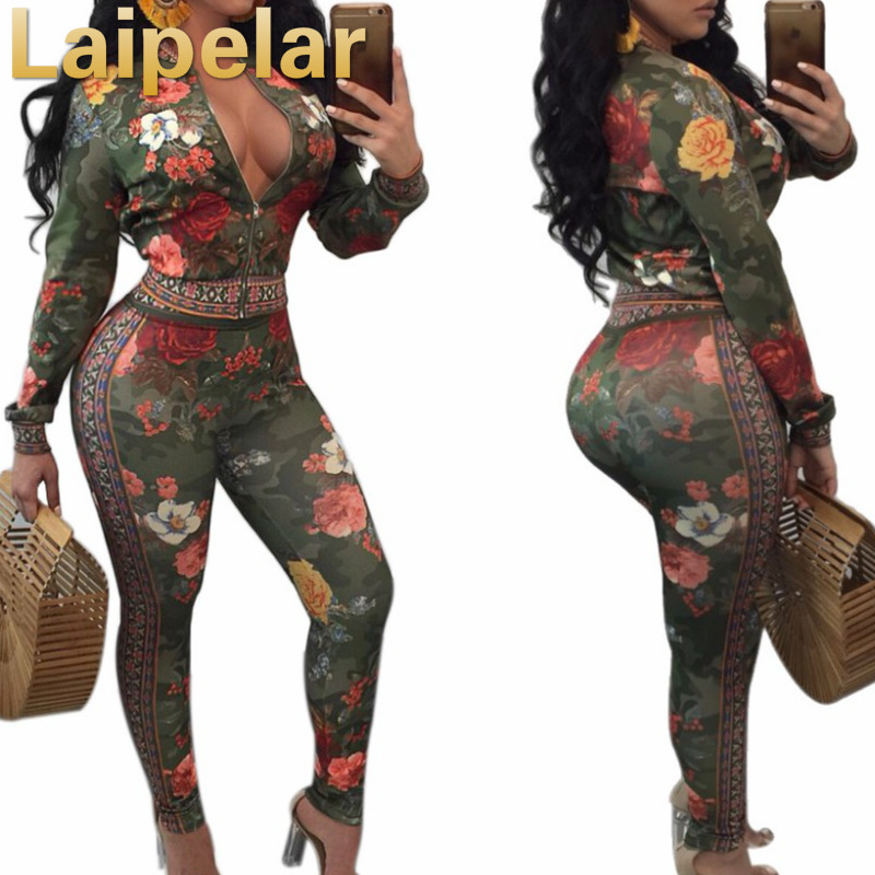 Laipelar 2018 sexy women tracksuits floral printed v neck 2 pieces suit casual nightclub party tracksuit bodycon jumpsuit romper in Women 39 s Sets from Women 39 s Clothing