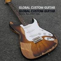 New Thủ Công Tuổi Relic Electric Guitar với Ash Body Màu Vàng, ST Guitar Điện Real photo hiển thị, HOT! miễn phí vận chuyển