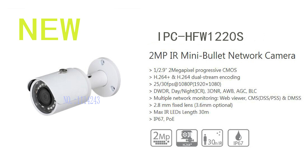 цена на Free Shipping DAHUA Security IP Camera 2MP IR Mini-Bullet Network Camera IP67 With PoE Without Logo IPC-HFW1220S