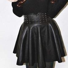 NEW Fashion Women'S Boutique Fashion Punk Rivet High Waist Pleated Skirt Pu Leather Short Dress