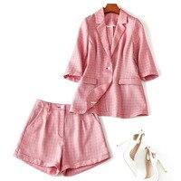 Для женщин Элегантный клетчатый Блейзер костюм 3/4 рукавом slim Куртки + Шорты комплект из 2 предметов; Новый 2019 серый розовый ПР стиль офисной л