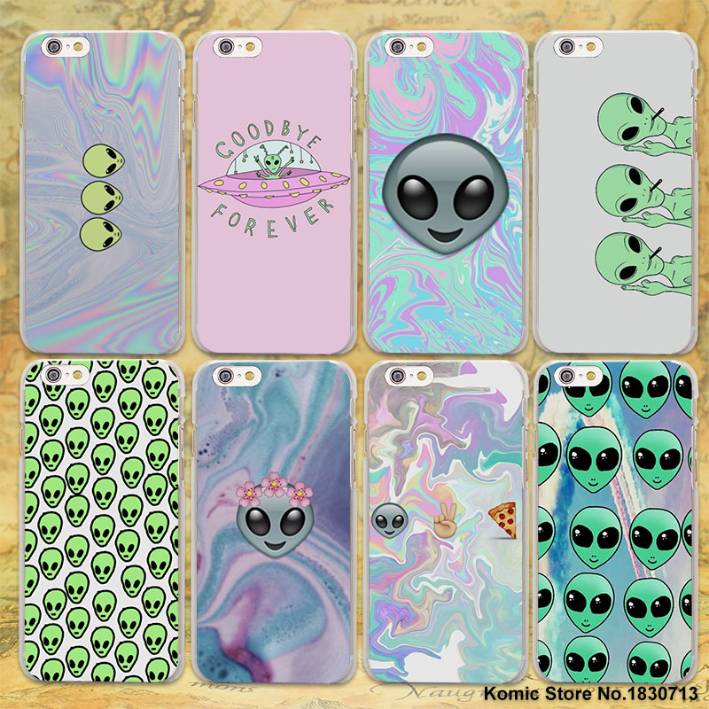 Funny Alien Drawings of Aliens hard clear Cases cover for Apple iPhone 7 6 6s Plus SE 4s 5 5s 5c plastic phone case