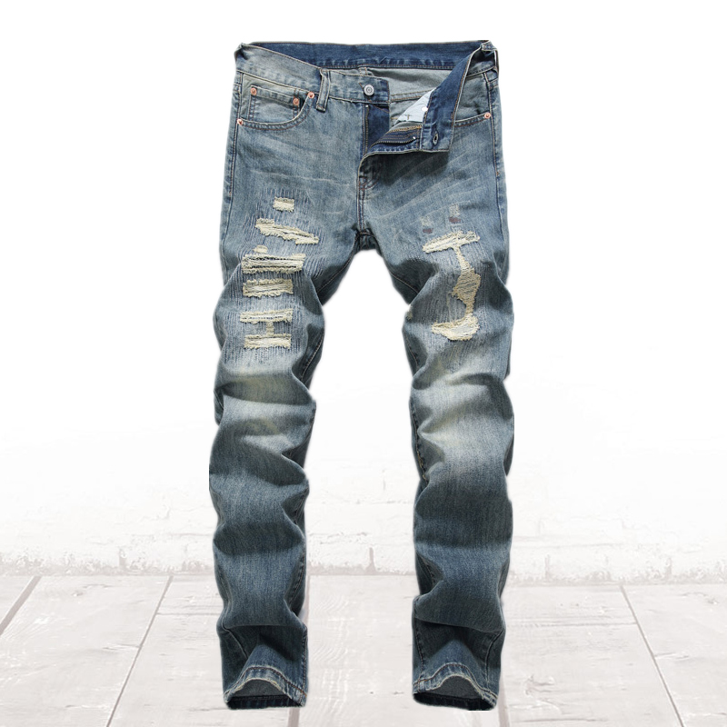 Distressed Blue Moto Biker Jeans Men Ripped Denim Slim Fit Pants High Quality Brand Clothing Cotton Men`s Patchwork Jeans C8001 classic mid stripe men s buttons jeans ripped slim fit denim pants male high quality vintage brand clothing moto jeans men rl617
