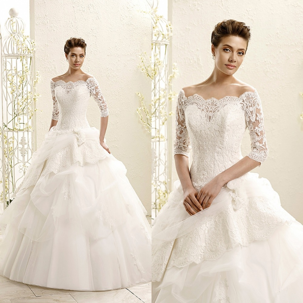 2015 Vintage Lace Floor Length Wedding Dress Bridal Gown With Sleeves Three Quarter Sleeve Ball Gown Bridal Wedding Gown F1703