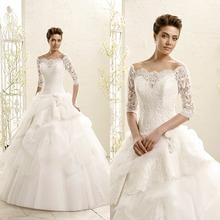 2015 Vintage Lace Floor Length Wedding Dress Bridal Gown With Sleeves Three Quarter Sleeve Ball F1703