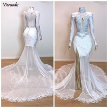 2019 White High Neck Lace Mermaid Prom Dresses Long Sleeves Applique Beaded Split Sweep Train Formal Party Wear Evening