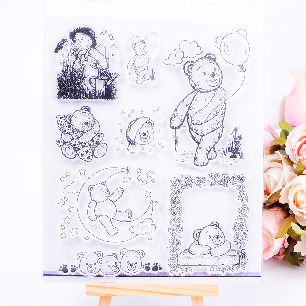 DECORA 1PCS Gift Bear Silicone Transparent Clear Stamp DIY Scrapbooking Stamping Christmas Decoration Supplies